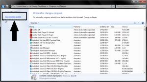 Windows Denetim Masası ProgramveOzellikleri_Yuklu_guncellemeler