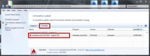 Windows Denetim Masası ProgramveOzellikleri_Yuklu_guncellemeler_Autocad_SP2